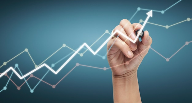 Gráfico de desenho de mão, estoque gráfico de crescimento