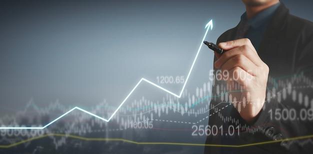 Gráfico de desenho de mão. gráfico de estoque de crescimento v