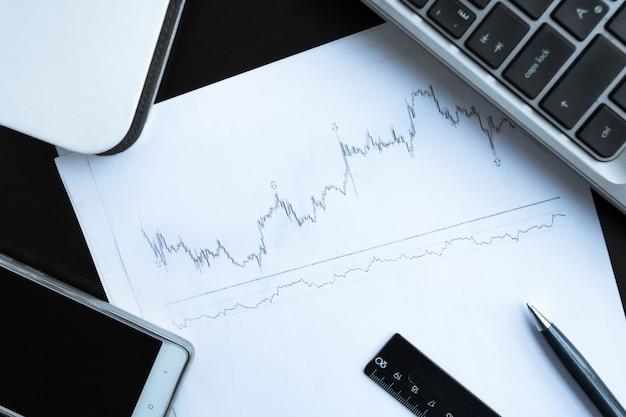 Gráfico de estoque e material de escritório na mesa