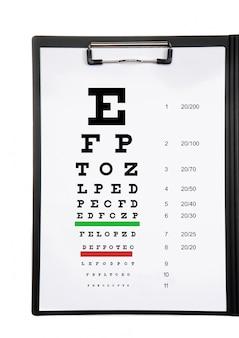 Gráfico de exames de visão em uma pasta