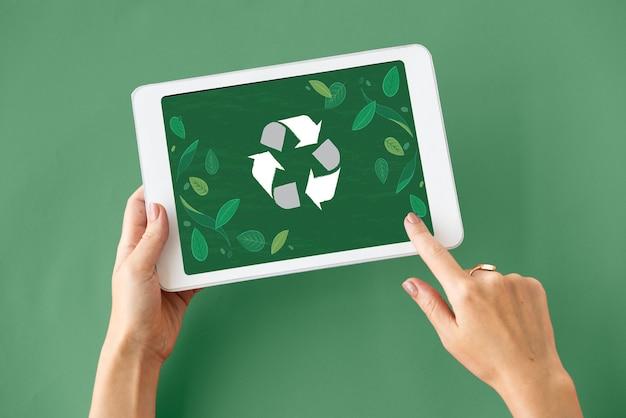 Gráfico de ícone do recycle nature world
