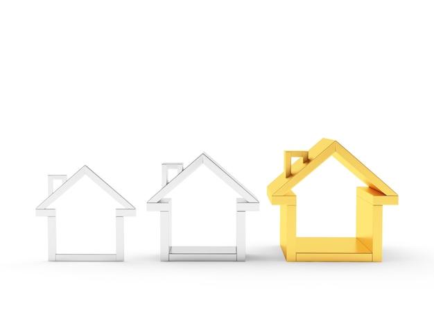 Gráfico de ícones de casas prateadas e douradas
