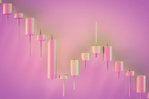 Gráfico de intervalo decorativo mostrando declínios. vista de velas japonesas. tema de troca
