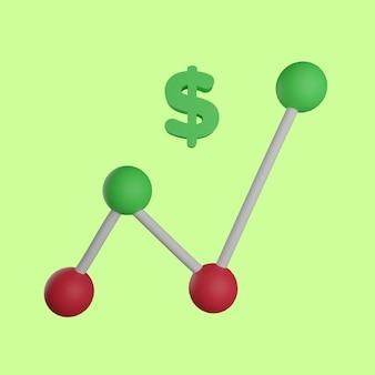 Gráfico de linhas 3d aumenta dólar em fundo verde