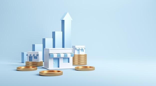 Gráfico de moedas e crescimento com negócios de franquia