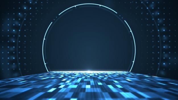Gráfico de movimento para centro digital de big data abstrato, servidor e transferência de dados de comunicação