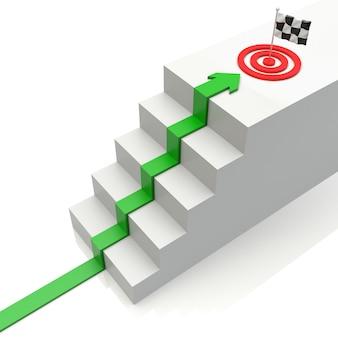 Gráfico de negócios com seta ascendente para o destino e escada em branco. ilustração 3d