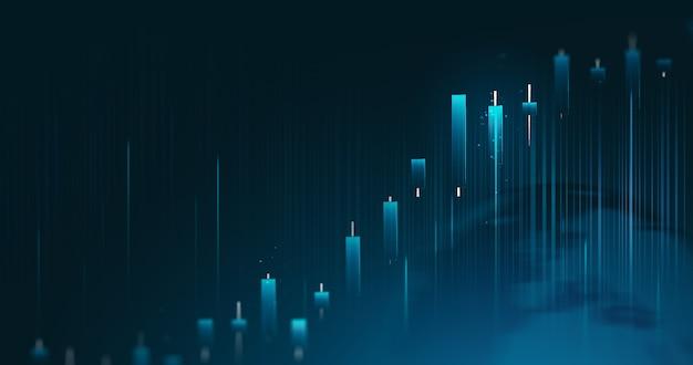Gráfico de negócios de ações de investimento financeiro global e dados de crescimento do mercado de comércio sobre fundo de troca de economia com taxa de lucro de diagrama digital de análise abstrata.