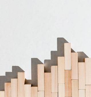 Gráfico de negócios do conceito de peças de madeira