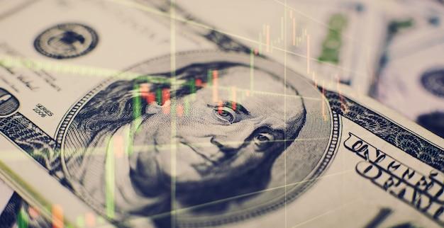 Gráfico de negócios e indicador financeiro de estoque. estoque ou conceito de análise de mercado empresarial.