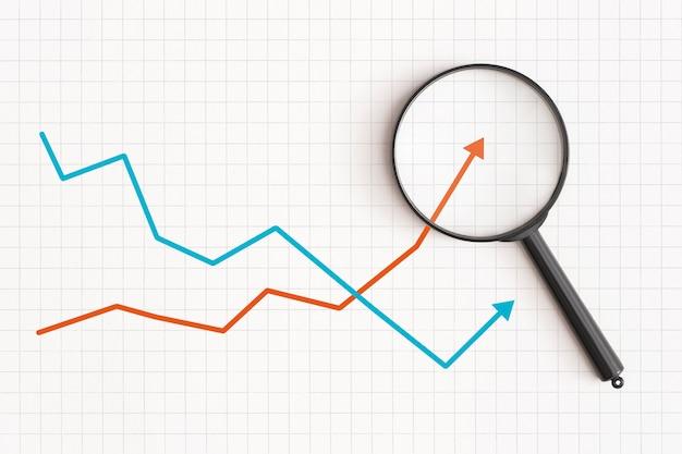 Gráfico de negócios e lupa na mesa desenvolvimento financeiro economia estatísticas