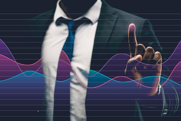 Gráfico de negócios em holograma feito pelo homem