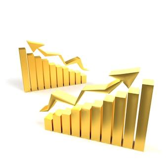 Gráfico de negócios ouro com seta mostrando o sucesso. mercado de ouro on-line conceito de ouro. bar gráfico ouro crescimento de negócios com seta ascendente. renderização em 3d.