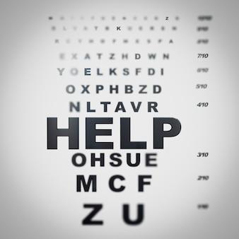 Gráfico de olhos desfocados com a palavra ajuda em foco