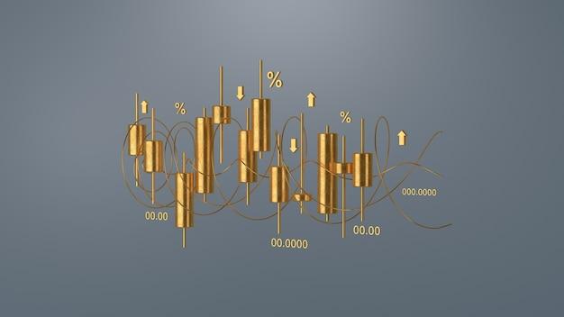 Gráfico de ouro lcandlestick do mercado de ações, renderização 3d