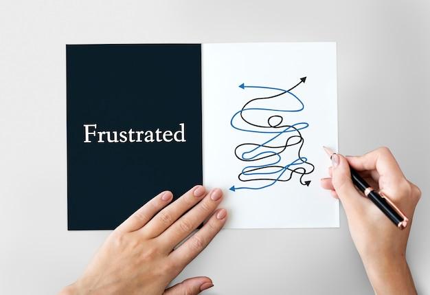 Gráfico de palavras de situação crítica de caos complicado deprimido