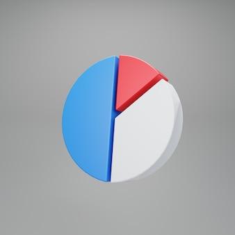 Gráfico de pizza. desempenho de estatísticas. renderização 3d