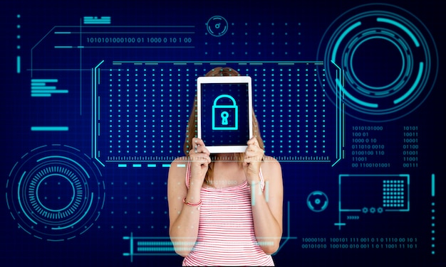 Gráfico de proteção de privacidade de segurança de senha de bloqueio de chave