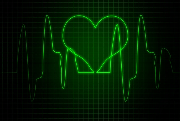 Gráfico de pulsação. freqüência cardíaca na tela verde. cardiograma.