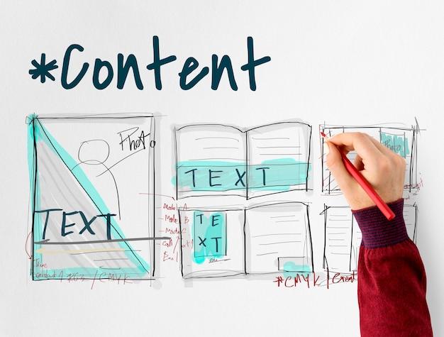 Gráfico de rascunho de design de layout de e-book