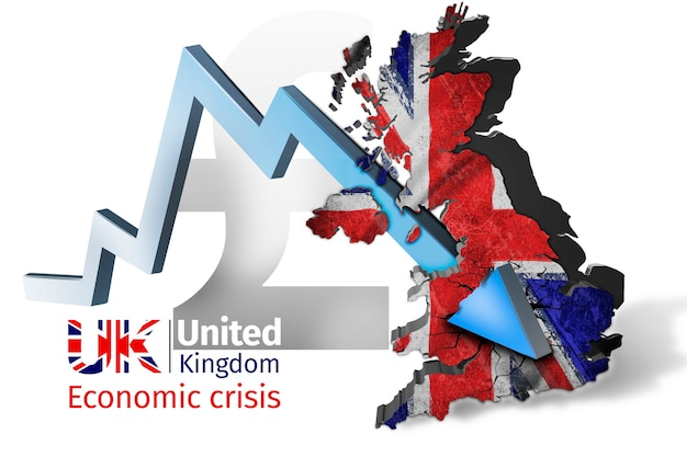 Gráfico de recessão conceito de crise financeira o gráfico da seta azul perfura o mapa do reino unido
