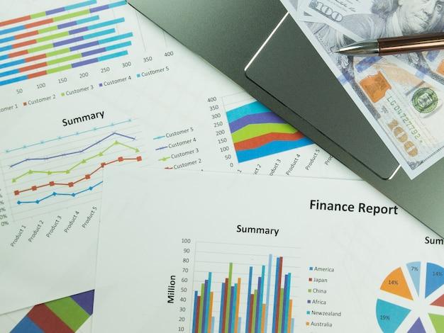Gráfico de relatório de negócios e análise de gráfico financeiro com dinheiro dólar e caneta na mesa