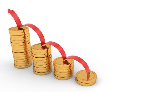 Gráfico de seta de tendência de alta vermelha com moedas de ouro empilhadas