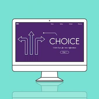 Gráfico de setas de mudança de escolha de opções
