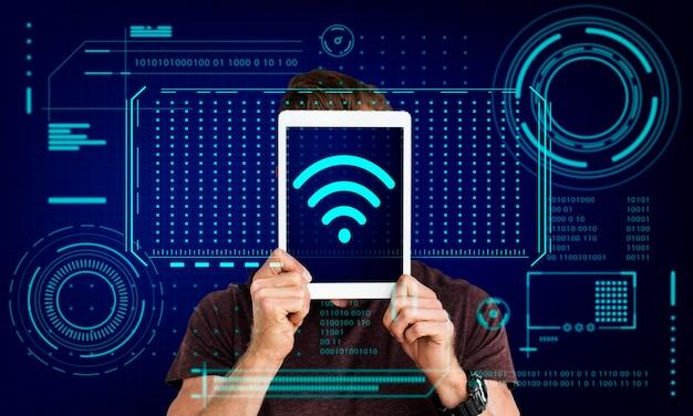 Gráfico de tecnologia de comunicação de conexão sem fio de internet wi-fi