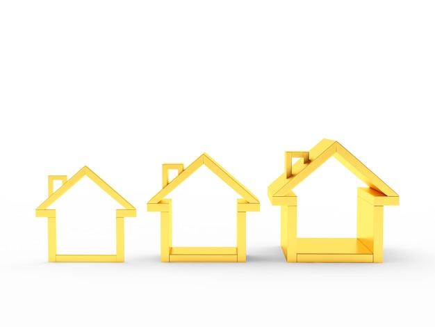 Gráfico de três ícones de casas douradas Foto Premium