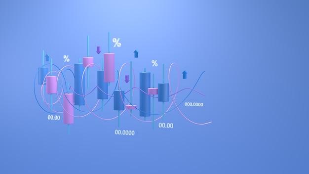 Gráfico de velas do mercado de ações renderização 3d