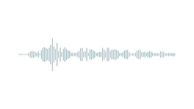 Gráfico de voz minimalista de barras azuis no equalizador de fundo branco