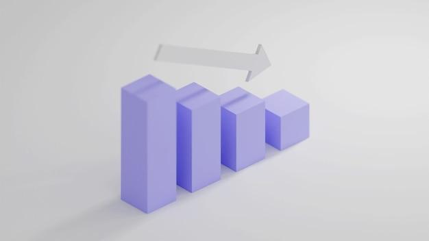 Gráfico descendente com vista isométrica em renderização 3d
