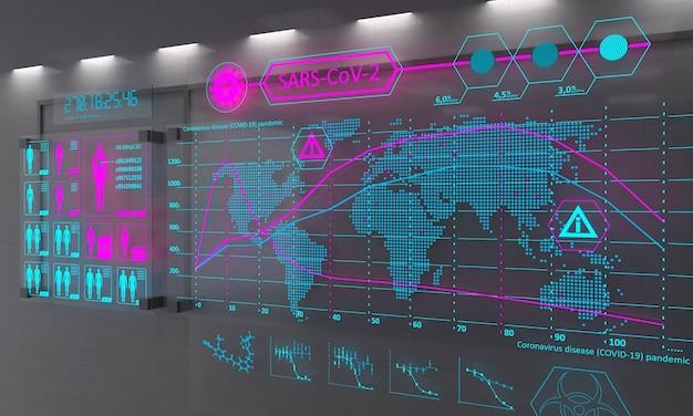 Gráfico digital colorido de infecção de vírus no mundo