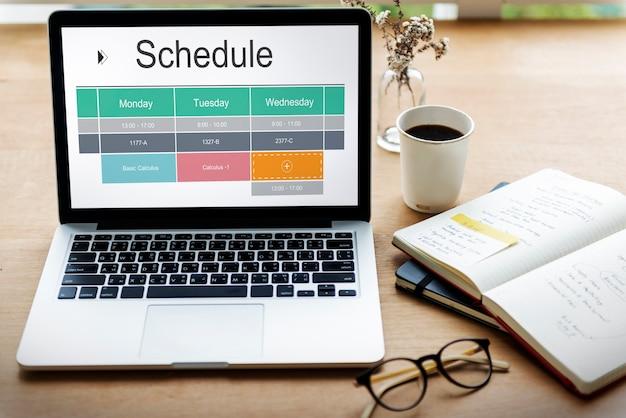 Gráfico do cronograma escolar tabela de horários