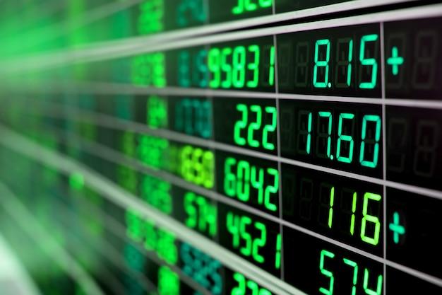 Gráfico do mercado de ações ou placa do mercado de ações com números verdes