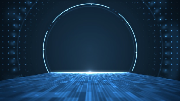 Gráfico do movimento para o centro digital abstrato de grande volume de dados.