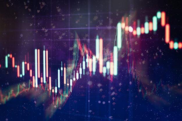 Gráfico e indicador de preço técnico, gráfico de velas vermelho e verde na tela de tema azul, volatilidade do mercado, tendência de alta e baixa. negociação de ações, fundo de moeda criptográfica.