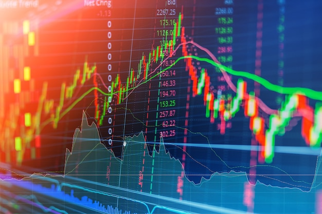 Gráfico financeiro do gráfico de ações do mercado de ações caixa de negociação de investimento