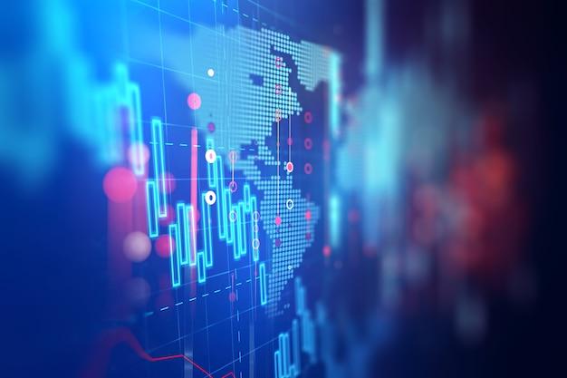 Gráfico financeiro técnico em abstrato de tecnologia
