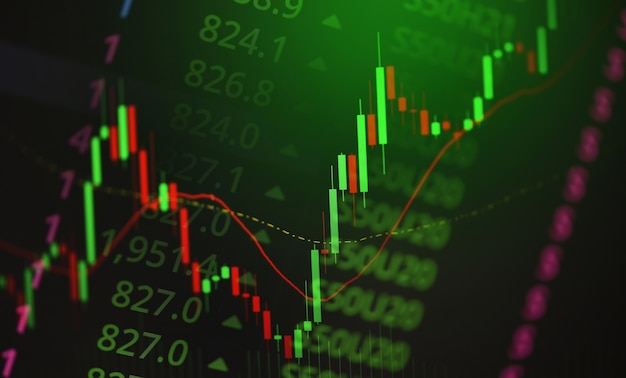 Gráfico gráfico de negócios de negociação de investimentos no mercado de ações