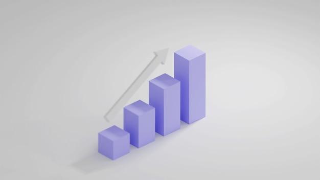 Gráfico growt com vista isométrica em renderização 3d