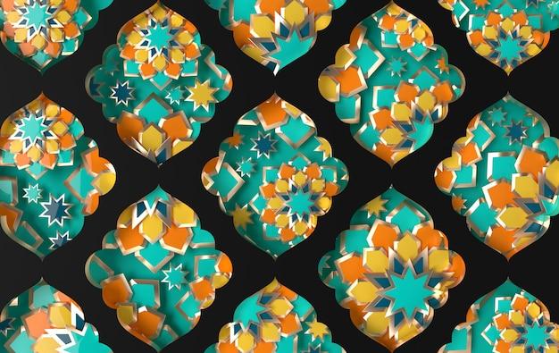 Gráfico intrincado em papel árabe com estrelas e flores geométricas islâmicas