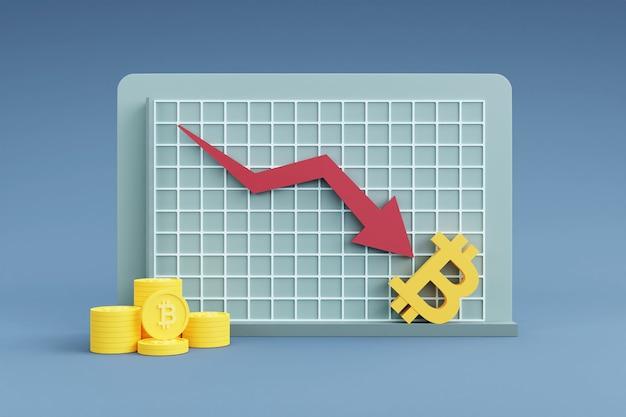 Gráfico mostrando a taxa de bitcoin de seta para baixo