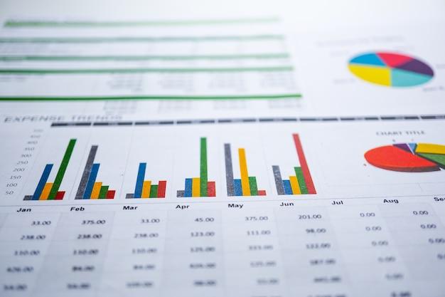 Gráfico papel gráfico. financeiro, conta, estatística, economia de dados de pesquisa analítica, negócios