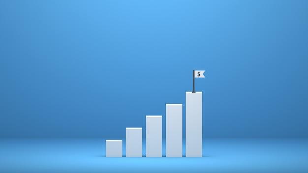 Gráfico renderizado em 3d aumenta o crescimento do lucro comercial para o sucesso