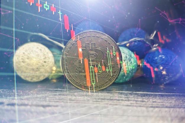 Gráfico técnico do bitcoin no conceito futurista. bitcoins dourados em pé na placa de circuito, conceito de criptomoeda.