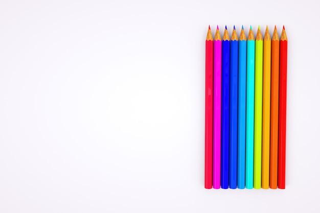 Gráficos 3d. imagem de lápis de cor. conjunto de lápis de cor em fundo branco. lápis afiado. fechar-se