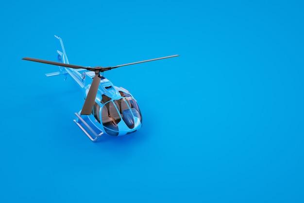 Gráficos 3d, modelo de um helicóptero azul. helicóptero azul sobre um fundo colorido. gráficos de computador. helicóptero isolado em um fundo azul.