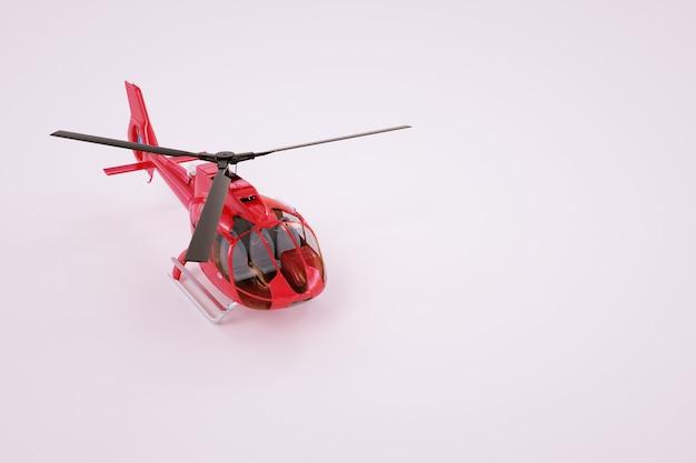 Gráficos 3d, modelo de um helicóptero vermelho. helicóptero vermelho sobre um fundo branco. gráficos de computador
